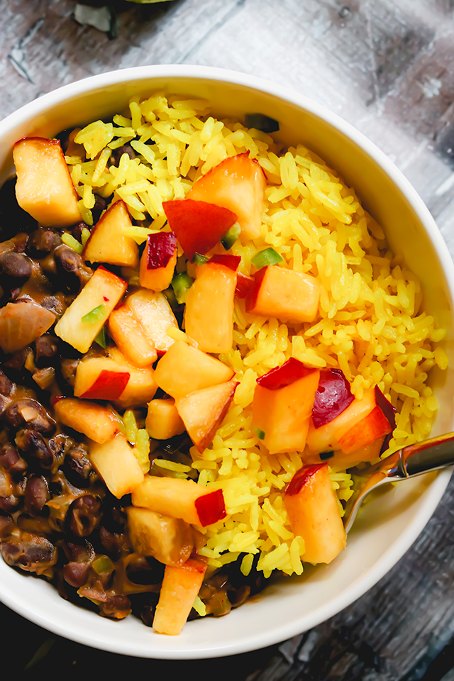 Skillet Black Beans with Nectarine Salsa and Yellow Rice