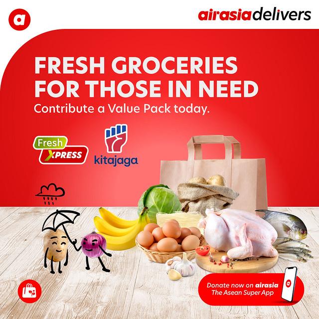 Airasia Hulurkan Bantuan Makanan Melalui Kerjasama Airasia Grocer &Amp; Kitajaga.co