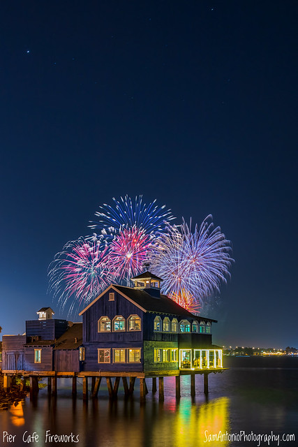Fireworks over the Pier Cafe in Seaport Village, San Diego, California, USA