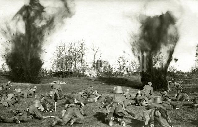 Vorwärts! German infantry advance across no man's land