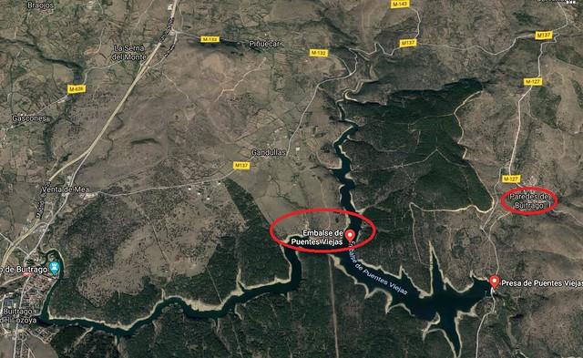 Mapa del embalse de Puentes Viejas (Kayak en Paredes de Buitrago)