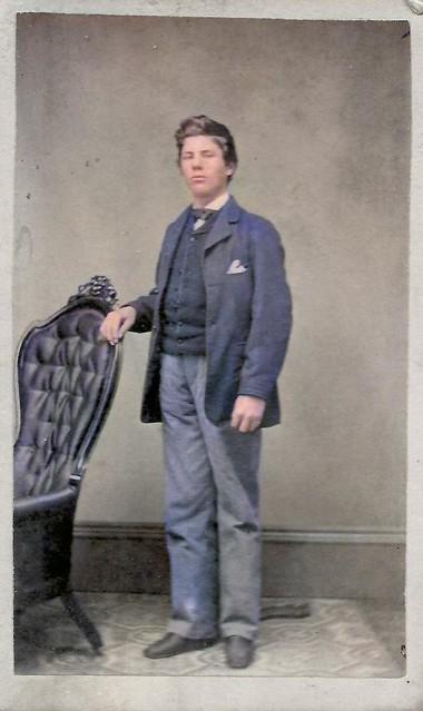 1860s handsome teenage boy, Potsdam, New York, CDV, original photo_colorSAI, Colorized by Asar Studios