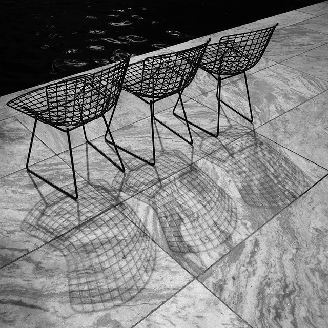 Pool, Wire Chairs and Shadows at MoMA, New York