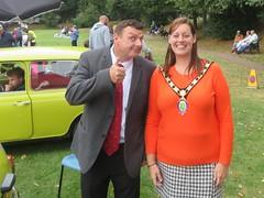 Zoe Nealson Oakham Mayor with Mr Bean Oakham Town Council Music Festival Cutts Close Oakham Rutland