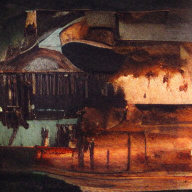 an oil on canvas painting of a western town