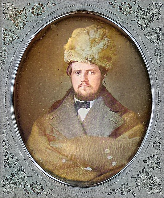 Bearded Man Wearing Fur Hat + Blue Tinted Jacket 1 6 Plate Daguerreotype_colorSAI, Colorized by Asar Studios