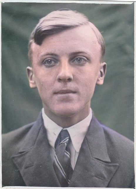 1940s Handsome young man guy in suit fashion old Russian Soviet Photo_colorSAI, Colorized by Asar Studios