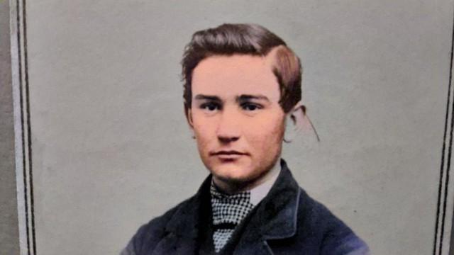 Civil War Era CDV Handsome Teenage Boy Tax Revenue Stamp Rochester MN_colorSAI, Colorized by Asar Studios