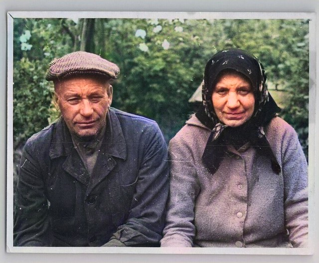 1969 ELDERLY MAN AND WOMAN old married couple in garden Russian Vintage Photo_colorSAI, Colorized by Asar Studios