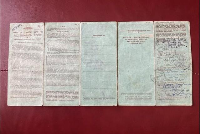 GLC Vehicle Log Book - 1960's