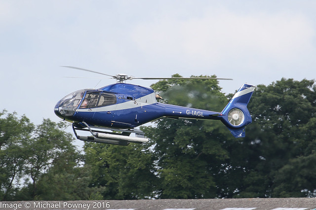 G-IAGL - 2008 build Eurocopter EC120B Colibri, arriving at Sywell during Aero/Heli Expo 2016