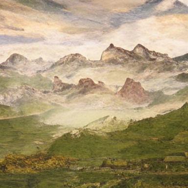 a renaissance painting of a mountain range