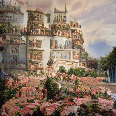 a detailed painting of a palace by Thomas Kinkade