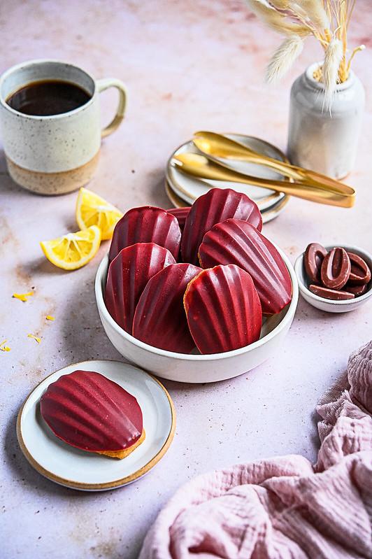 Lemon Madeleine with Valrhona Raspberry Chocolate