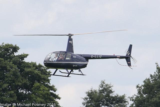 G-LLIZ - 2008 build Robinson R44 Raven II, arriving at Sywell during Aero/Heli Expo 2016