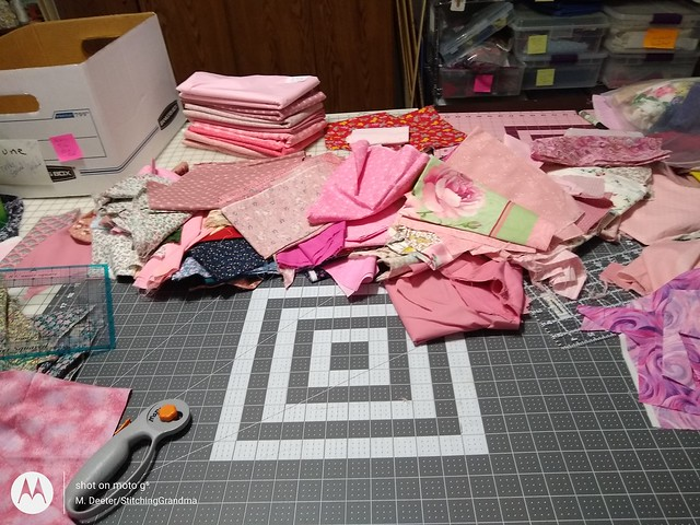 Sorting out June's fabric
