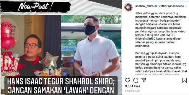 Shahrol Shiro Balas Teguran Hans Isaac, Harap Tak 'Koyak' Isu Kabinet 'Recycle'