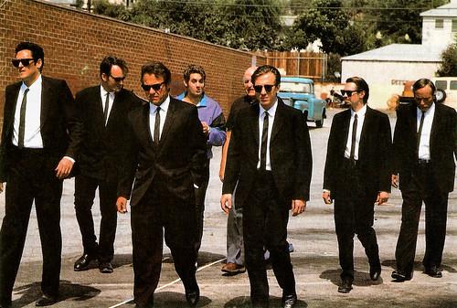 Michael Madsen, Quentin Tarantino, Harvey Keitel, Chris Penn, Lawrence Tierney, Tim Roth, Steve Buscemi and Edward Bunker in Reservoir Dogs (1992)
