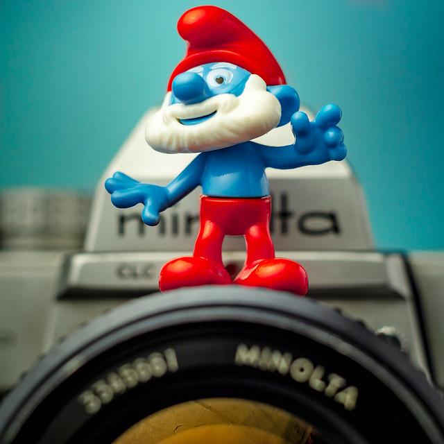Pumped Up Grandpa Smurf on a Minolta SLR