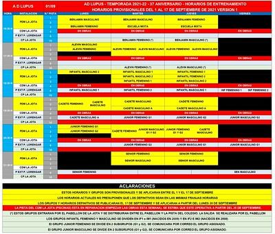 HORARIOS ENTRENAMIENTOS V-1 - 1 A 17 SEPT