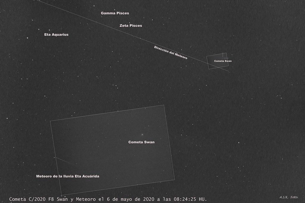 Cometa C/2020 F8 Swan y Meteoro de la lluvia Eta Acuarida; magnificado y campo amplio.