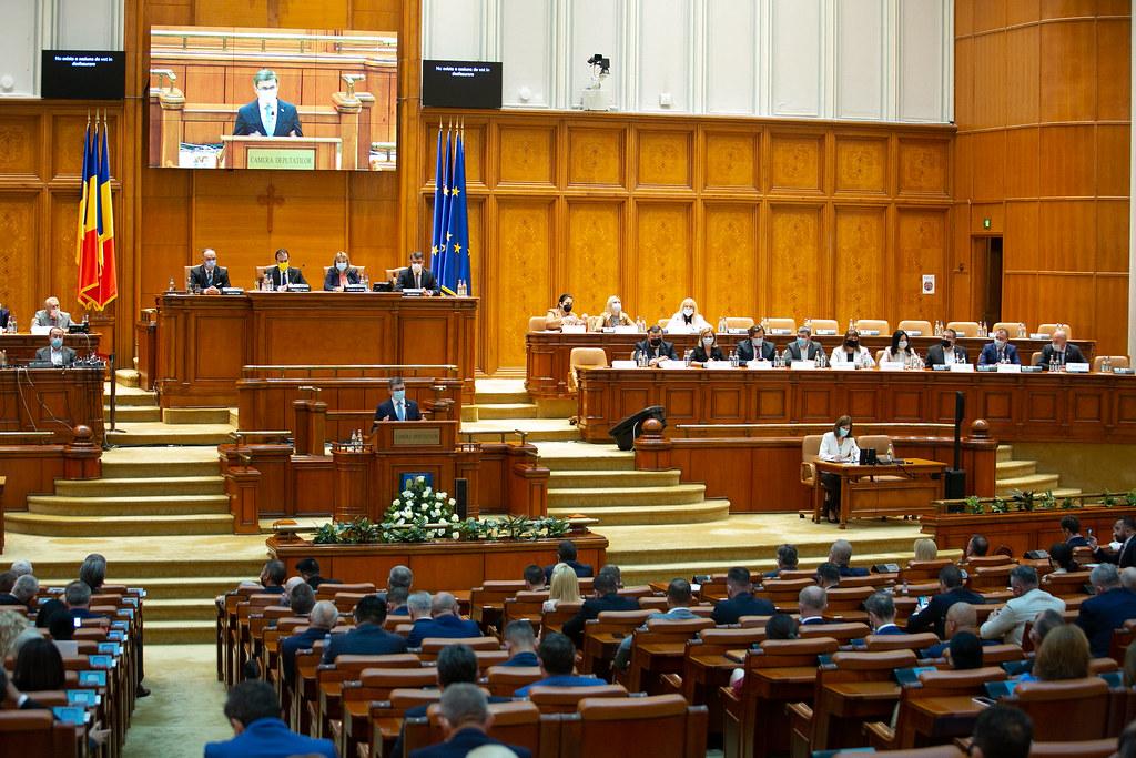 01.09.2021 Președintele Parlamentului Igor Grosu la ședința solemnă comună a Camerei Deputaților și Senatului Parlamentului României