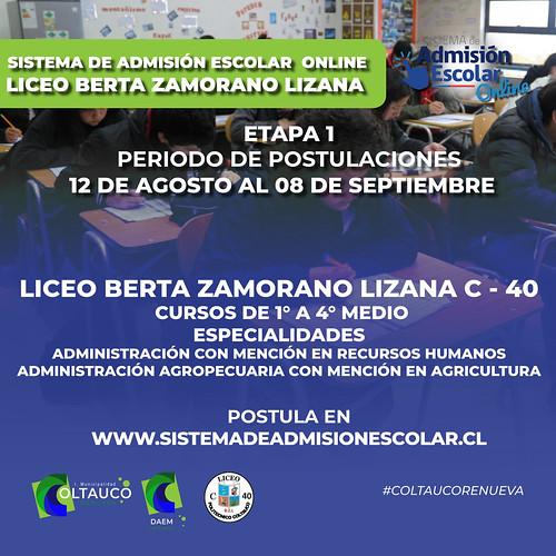 Liceo C-40 invita a Participar de la postulaci�n del Sistema Escolar A�o Acad�mico 2022