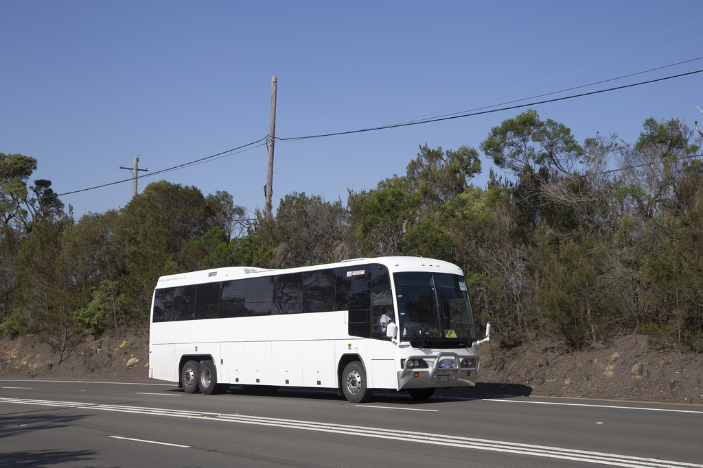Imperial Pacific Coaches 342VLX MCA Classic III on train replacement at Berowra.