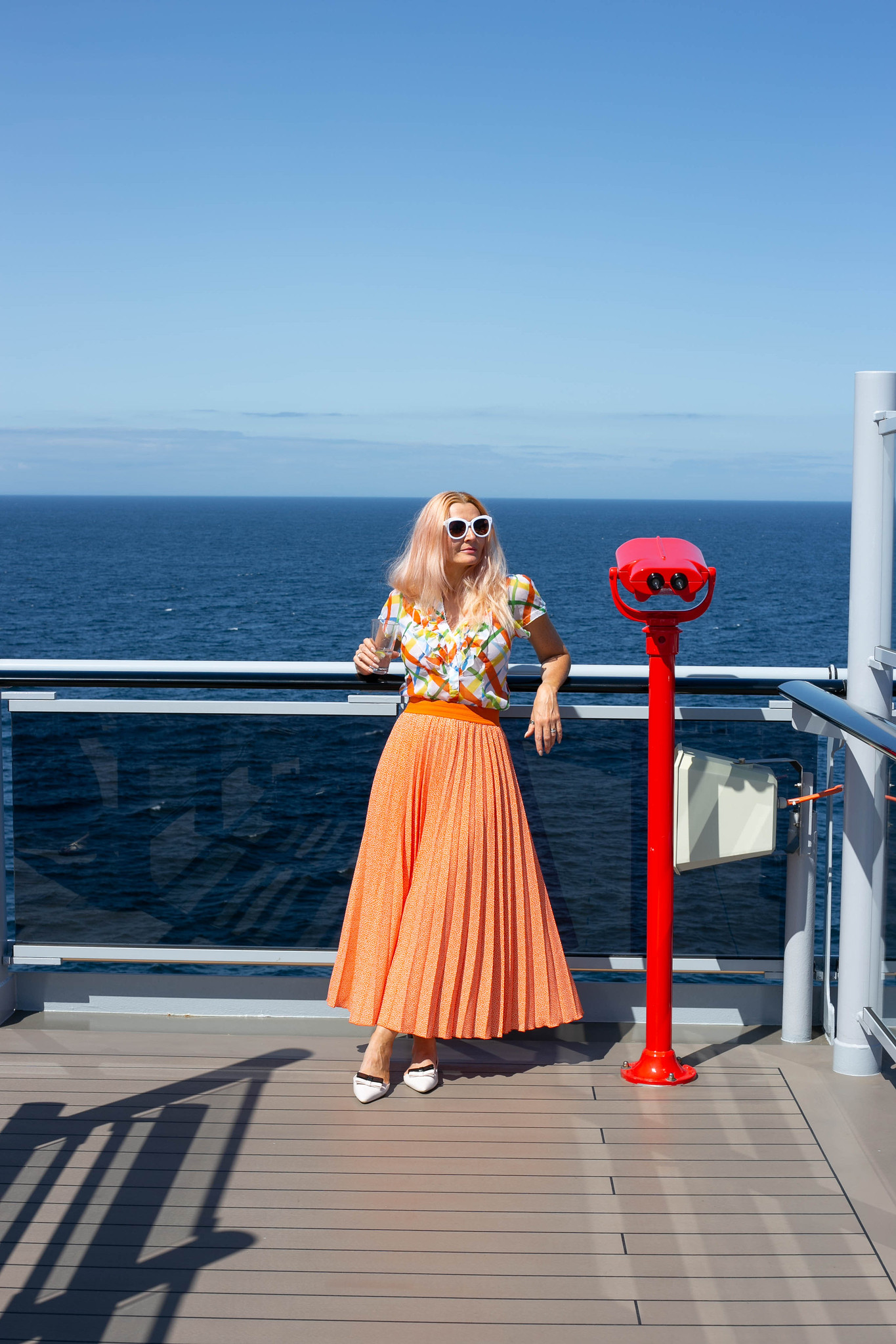 Cruise ship style: Orange Pleated Maxi & a Vintage Multicoloured Ruffled Top | Not Dressed As Lamb, Over 40 Style and Fashion