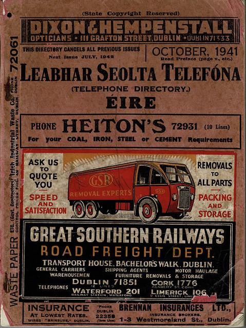 Leabhar Seolta Telefóna Éire - Telephone Directory Ireland : October 1941 - front cover