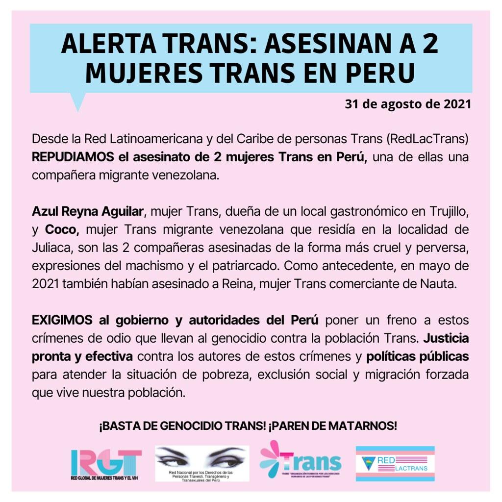 Alerta Trans Perú Agosto 2021