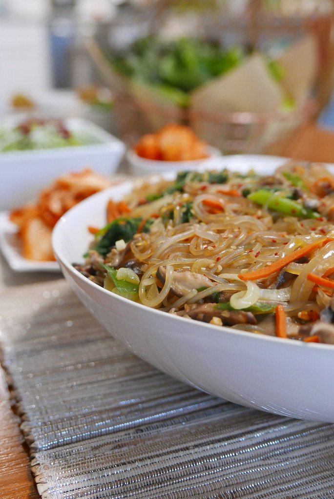 A bowl of japchae made with dangmyeon.