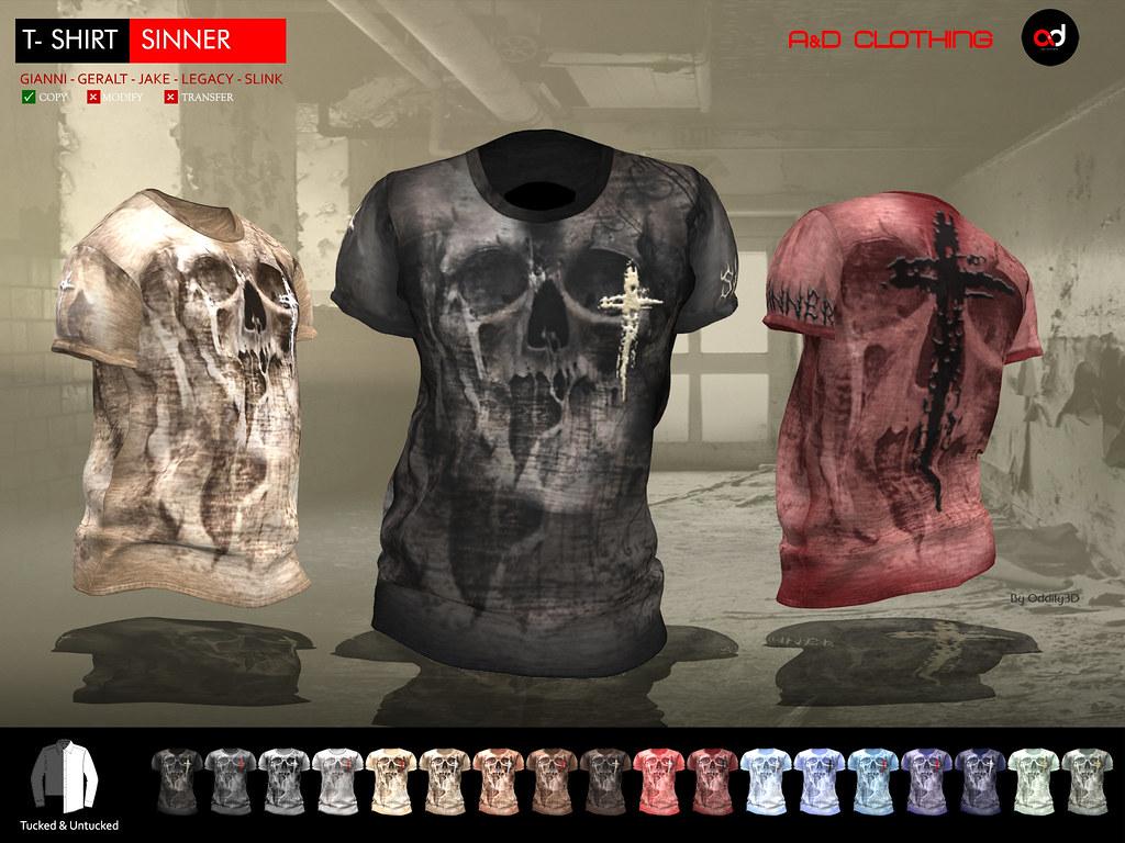 ! A&D Clothing – T-shirt -Sinner- FatPack NEW RELEASE
