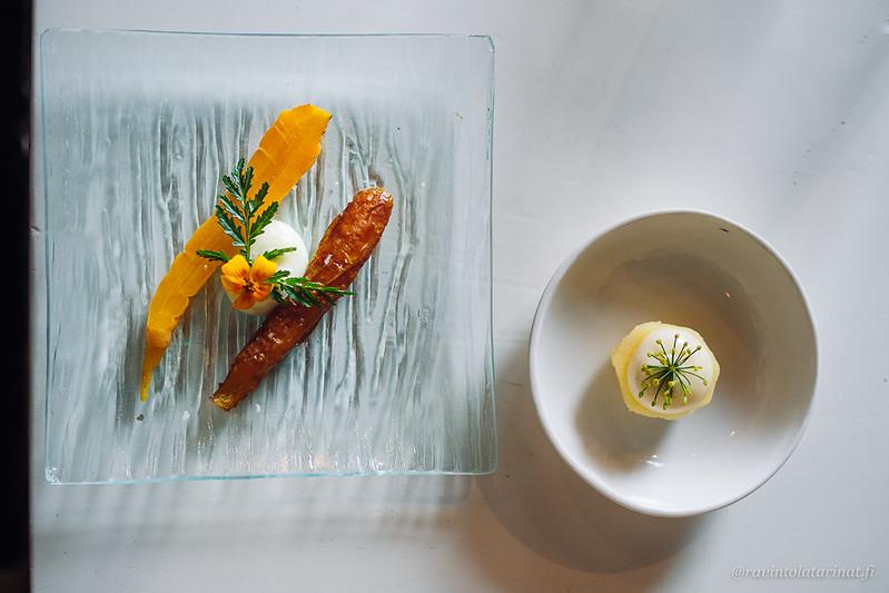 Porkkanaa kahdella tapaa kera rakuunamajoneesin ja samettikukan sekä perunaa, voita ja tillinkukkaa | Spis Helsinki