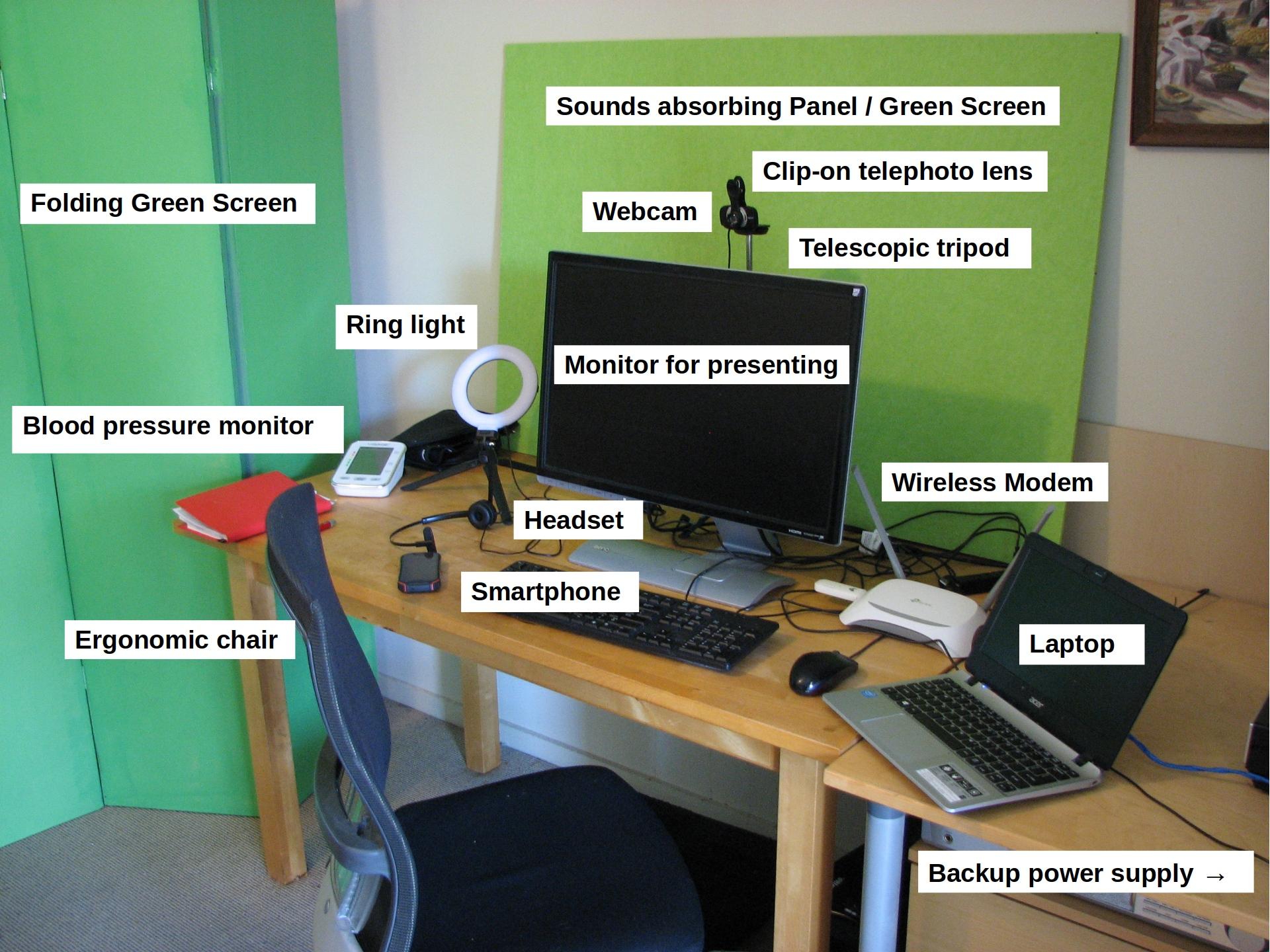 Home office webinar setup, Tom Worthington, CC BY, 2 September 2021