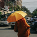 Monk in the streets of Phnom Penh, Cambodia