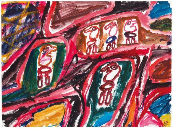 JeanDubuffetSiteAvec5Personnages881981AcrylicOnPaperOnCanvas
