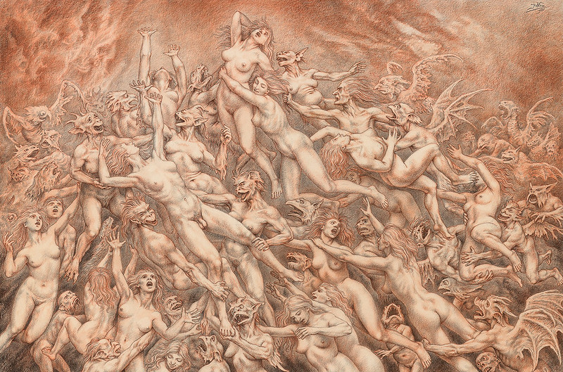 Johfra Bosschart - Witches' Sabbath, Drawing