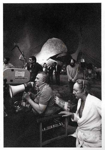 Federico Fellini and Donald Sutherland at the set of Casanova (1976)
