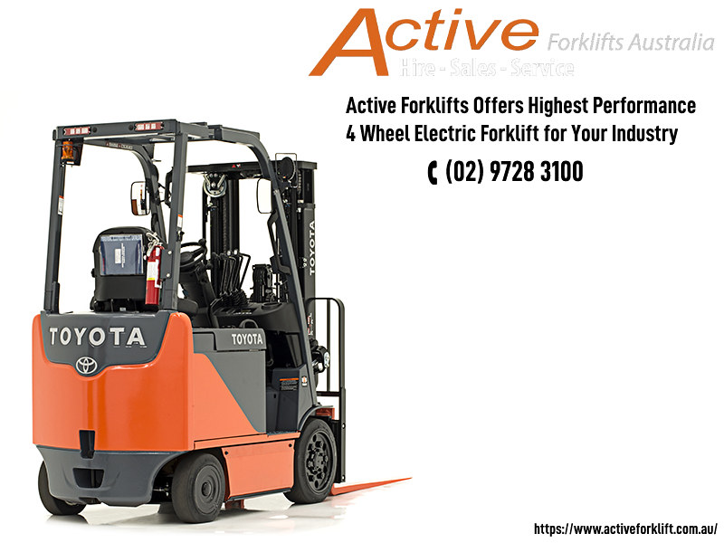Active Forklifts Offers Highest Performance 4 Wheel Electric Forklift for Your Industry