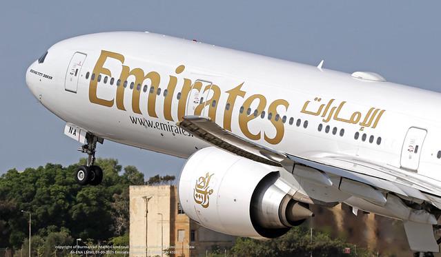 A6-ENA LMML 01-09-2021 Emirates Boeing 777-31HER CN 41082