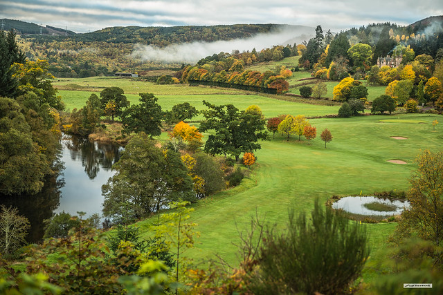 Strathglass, the River Beauly, Aigas Field Centre and Golf-Course embellished by the colours of Autumn, Inverness-shire, Scotland.