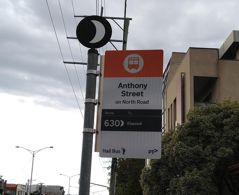 New bus stop signage, September 2021