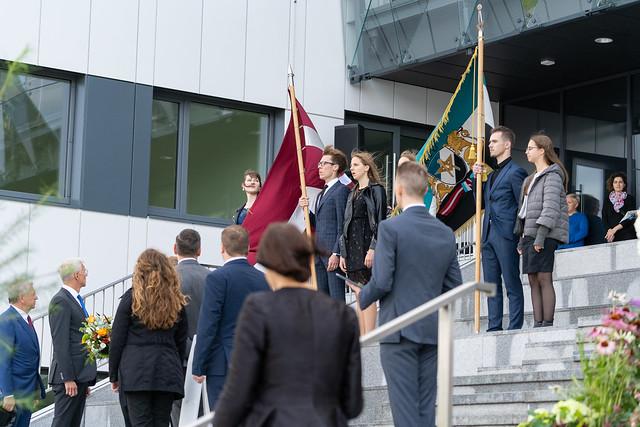 RTU Datorzinātnes un informācijas tehnoloģijas fakultātes jaunās ēkas un auditoriju centra «Domus Auditorialis» atklāšana un Krišjāņa Kariņa vizīte RTU.