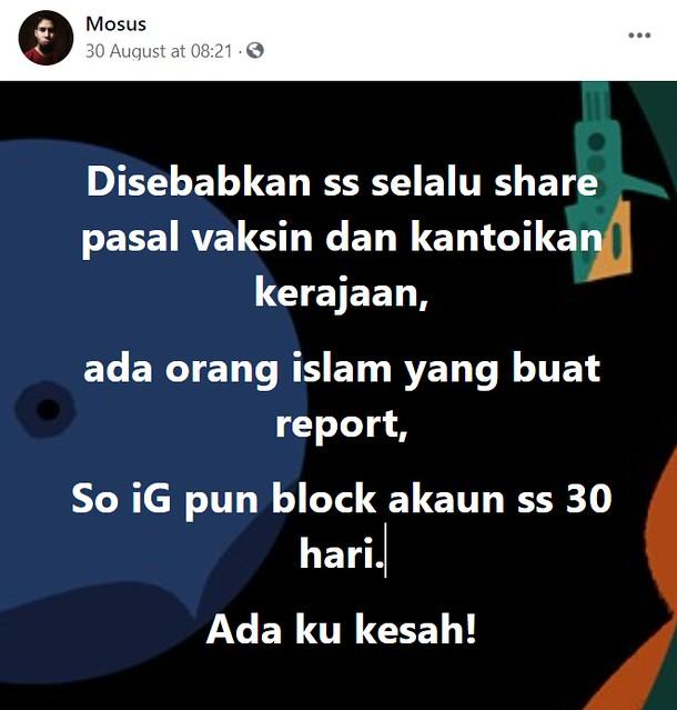 Kerap Kongsi Pasal Vaksin, Instagram Suhaimi Saad Kena Report, Disekat 30 Hari