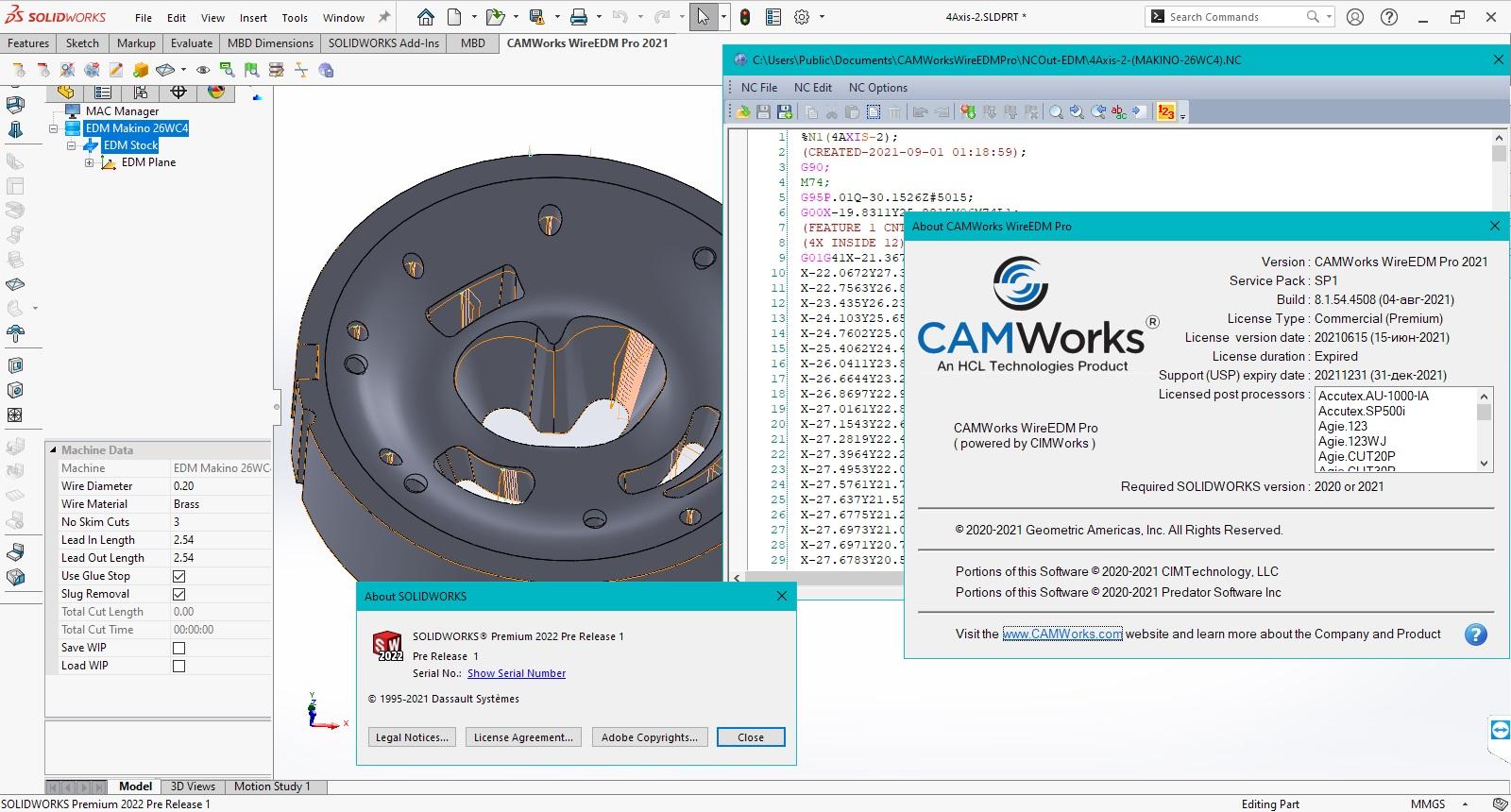programming with CAMWorks WireEDM Pro 2021 SP1
