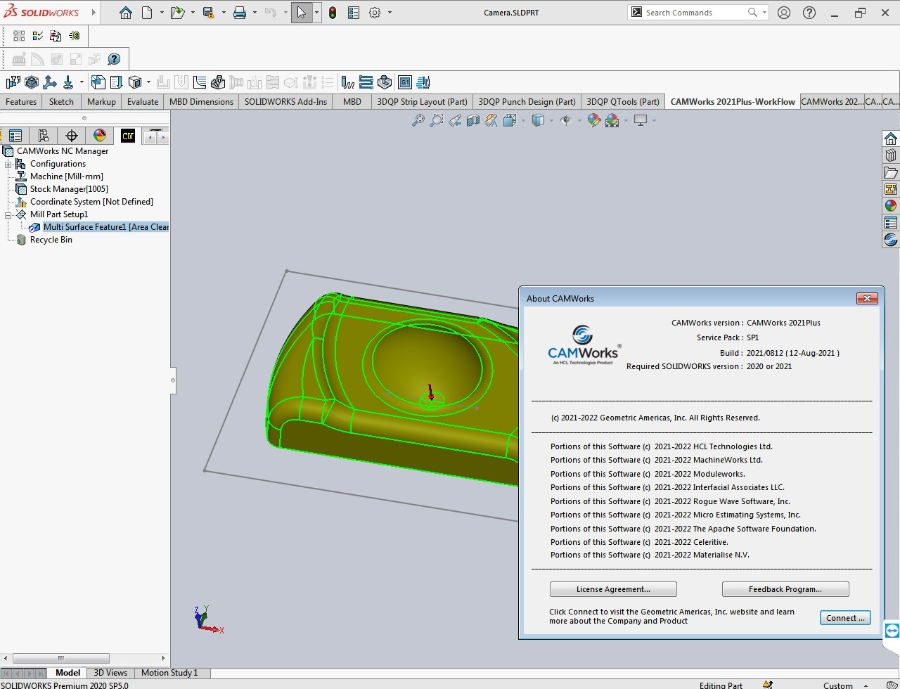 Working with CAMWorks 2021 Plus SP1 for SolidWorks 2020-2021 full