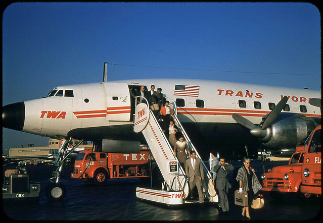 Passengers disembarking from TWA Lockheed Constellation at Midway Airport, Chicago, c.1958
