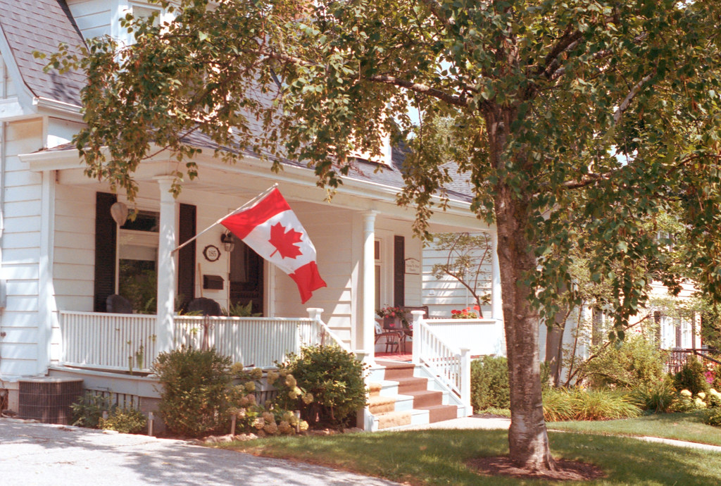Canadian Flag on the Front Porch