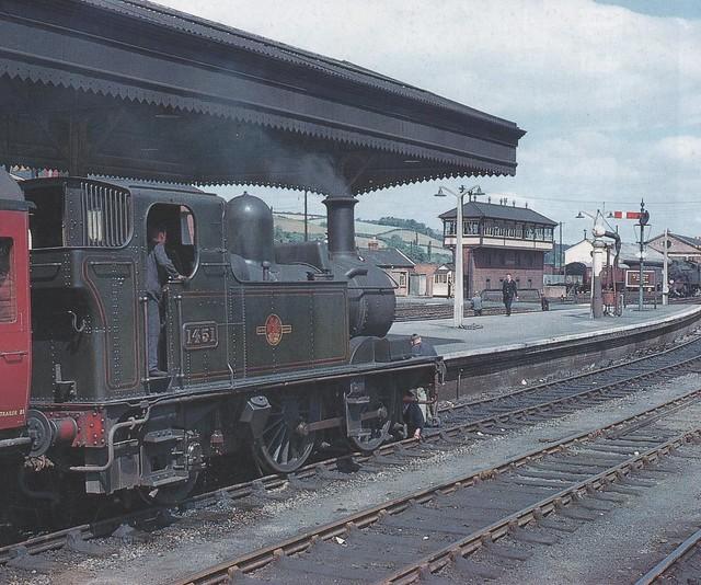 '1400' Class 0-4-2T, Exeter St Davids, Exeter, Devon, England, 1961, photo R. C. Riley.